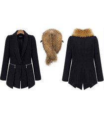 fashion women coat cashmere black woolen coat with big fur collar