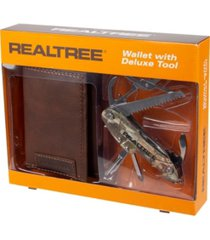 realtree trifold men's wallet with camo deluxe multi tool