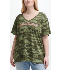 calvin klein jeans trendy plus size camo-print logo t-shirt