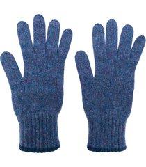 pringle of scotland textured cashmere gloves - blue