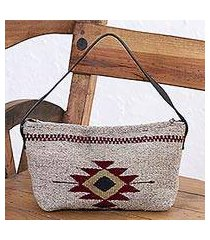 zapotec wool baguette handbag, 'godlike eye in khaki' (mexico)