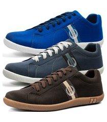 kit 3 pares de sapatênis casual dhl masculino azul, cinza e marrom