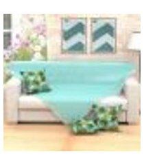 manta para sofá azul liso decorativa 1,50m x 1,50m + 3 almofadas decorativas 45cm x 45cm com refil