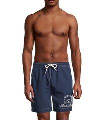 brooks brothers men's montauk logo-print swim shorts - blue - size s