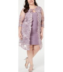 alex evenings plus size embroidered jacket & sheath dress