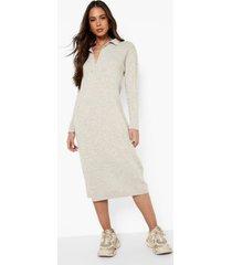 gebreide asymmetrische midi jurk met knopen, stone