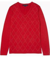 tommy hilfiger women's essential argyle v-neck sweater scarlet - xs