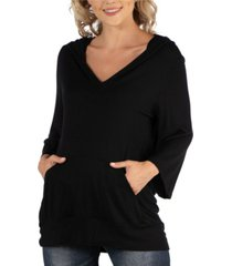 24seven comfort apparel oversized maternity fashion hoodie top