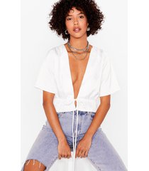 womens can't tie me down satin cropped blouse - ivory