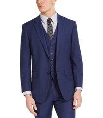 perry ellis men's portfolio slim-fit stretch blue pindot suit jacket