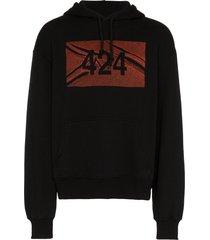 424 black logo print cotton hoodie