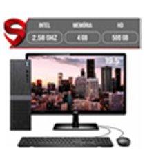 computador completo intel 2,58ghz 4gb hd 500gb monitor 19.5 hdmi led audio 5.1 canais slim skill