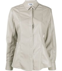 msgm panelled faux-leather shirt - neutrals