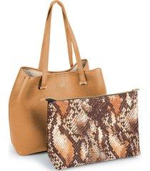 bolsa sacola grande com necessaire grande bege - kanui