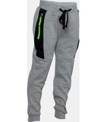 pantalon buzo corte color neon strong gris family shop