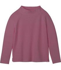 sweatshirt van bio-katoen met raatstructuur en opstaande kraag, roze 44