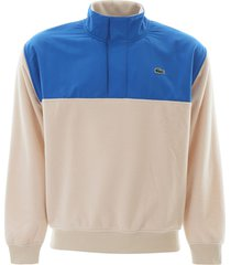 lacoste colour block dual-material sweatshirt