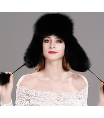 fashion women's winter trapper hat genuine fox raccoon fur russian ushanka hat