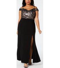 morgan & company trendy plus size cold-shoulder a-line gown