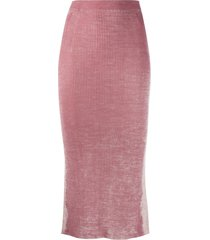 diesel rear slit knitted skirt - pink