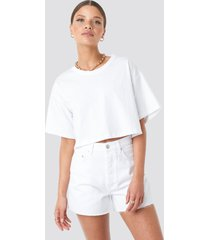 na-kd trend denim high waist shorts - white