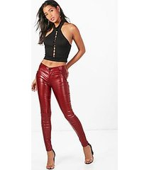 belle coated super skinny panelled trousers