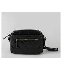 bolsa feminina transversal pequena com matelassê e bolso preta
