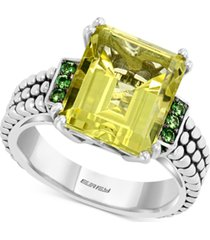 effy lemon quartz (5-3/4 ct. t.w.) & tsavorite (1/4 ct. t.w.) ring in sterling silver
