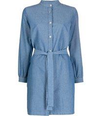 a.p.c. band collar denim dress - blue