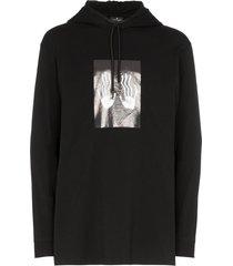 marcelo burlon county of milan hand print hoodie - black