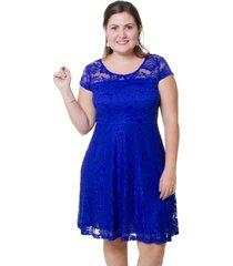vestido estilo fino moda renda azul bic