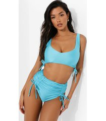 geplooid bikini broekje met hoge taille en zijstrikjes, turquoise