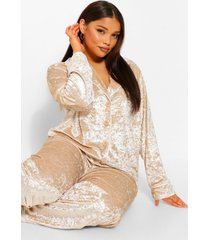 plus geplet fluwelen pyjama set met broek en knopen, champagne