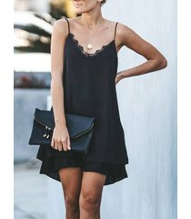 black double layer deep v cuello sin mangas vestido