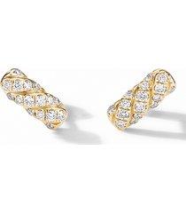women's david yurman barrel stud earrings in 18k yellow gold with diamonds