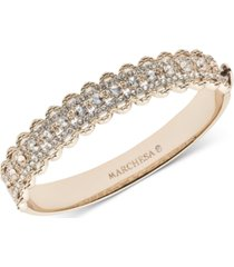 marchesa gold-tone crystal filigree bangle bracelet