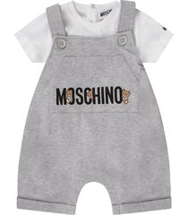 moschino grey and white babykids suit with teddy bear