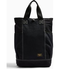 mens black ripstop and herringbone tote backpack