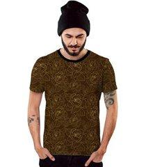 camiseta di nuevo marrom com linhas de flores douradas 2019 - masculino