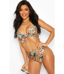 tropical leopard tie front high waist bikini, brown