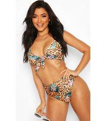 tropical leopard tie front high waist bikini, brown