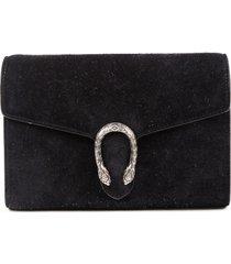 gucci dionysus wallet on chain mini black suede crossbody bag black sz: m