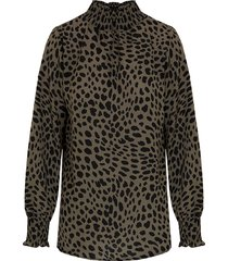 cheetah col blouse legergroen