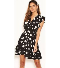 ax paris women's polka dot frill swing dress