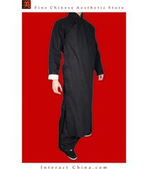 fine linen black kung fu martial arts tai chi long coat robe tailor custom made