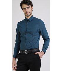 camisa masculina comfort com bolso manga longa petróleo