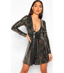 luipaardprint mini jurk met pailletten en laag decolleté, black