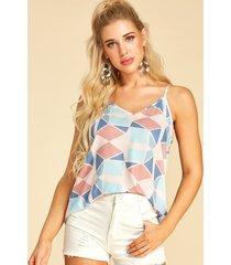 yoins camiseta con cuello en v y tirantes finos con estampado geométrico múltiple