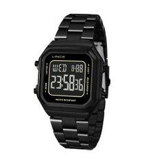 relógio digital lince unissex - sdn617la pxpx preto