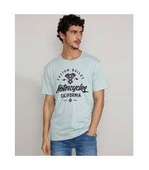 "camiseta masculina manga curta gola careca motorcycles california"" azul claro"""